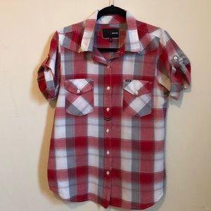 Hurley Women's Plaid Short Sleeve Button Up Shirt